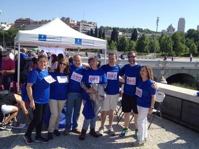 Los participantes en la salida el cardiowalking hoy en Madrid Río